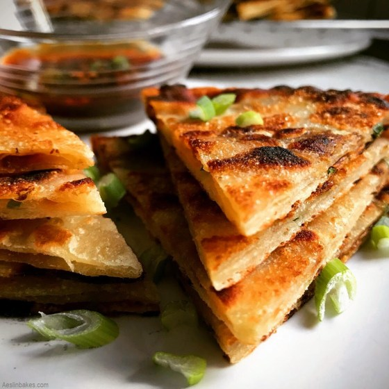 scallion pancakes with dipping sauce