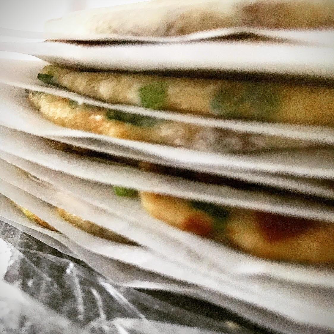 stacked scallion pancakes