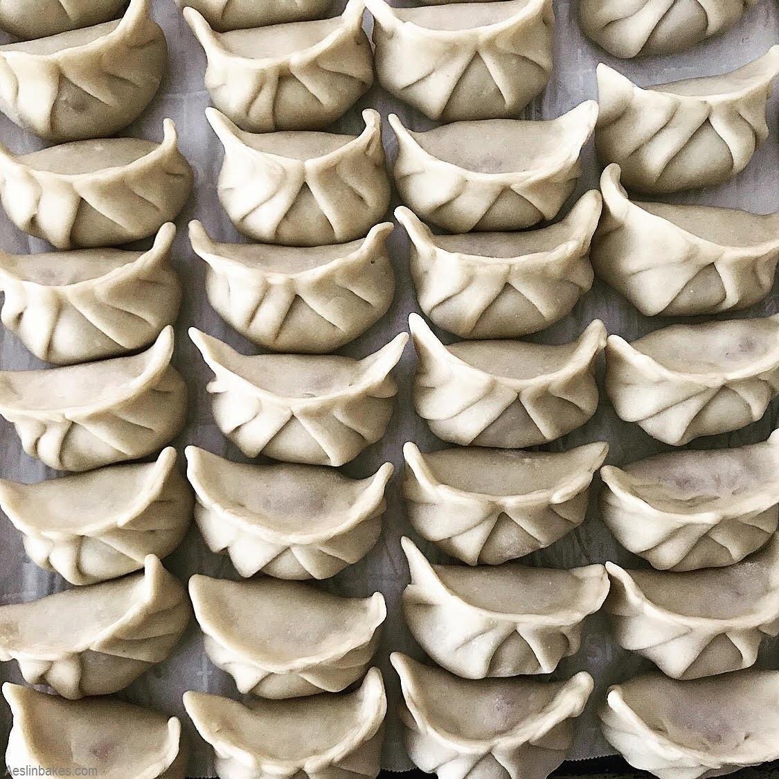 rows of potstickers top