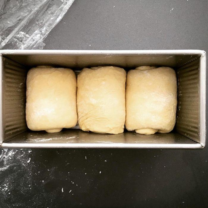 soft brioche dough in the pan