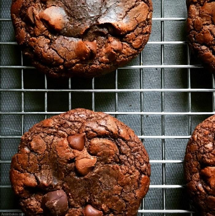 brownie cookies on cooling rack - tops just set