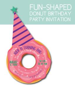 Fun-Shaped Donut Birthday Party Invite