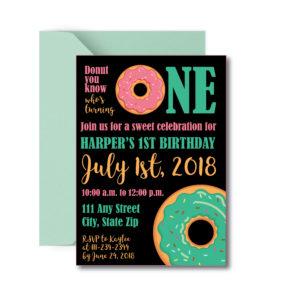 Fun Donut Themed Birthday Party Invite