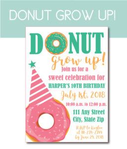Donut Grow Up Birthday Invite