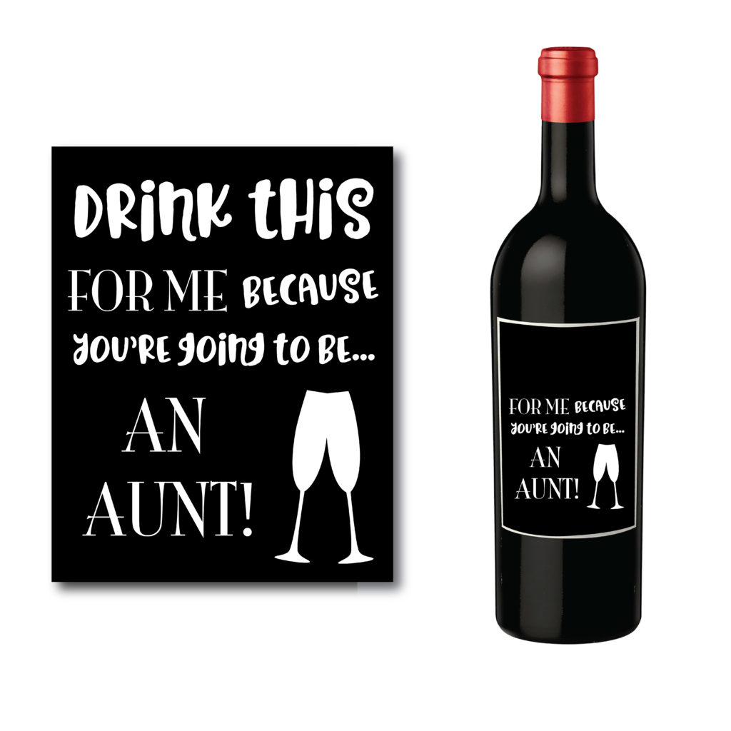 Wine Bottle Label for New Aunt