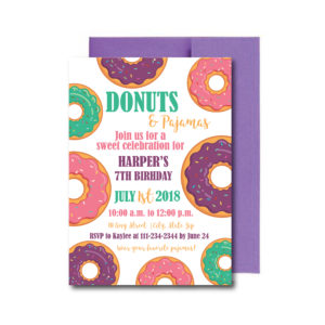 Donuts and Pajamas Party Invite