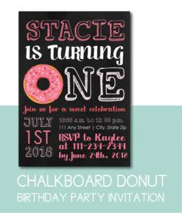 Chalkboard Donut Birthday Party Invite
