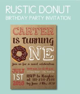 Rustic Themed Donut Invite