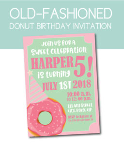 Old Fashioned Donut Party Invite