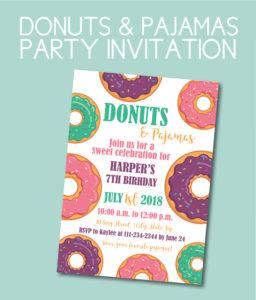 Donuts and Pajamas Birthday Invite