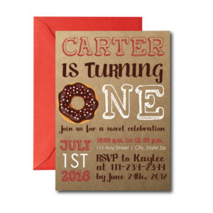 Rustic Donut Themed Party Invite