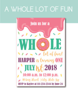 A Whole Lot of Fun Donut Party Invite