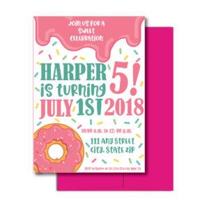 Sprinkle Themed Donut Invite