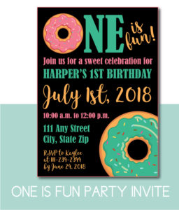 One is Fun Donut Party Invite