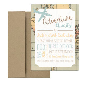 travel themed party invite with adventure awaits