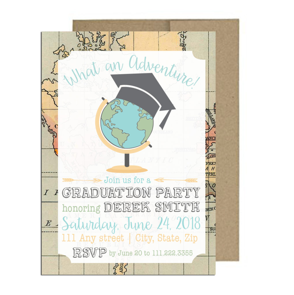 Travel Themed Graduation Invite