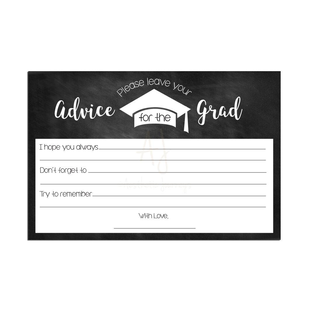 Chalkboard Graduation Advice Cards