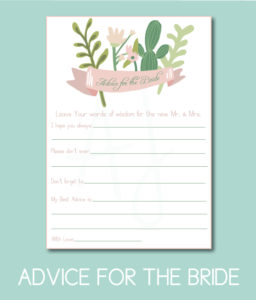 Advice for the Bride Game for the wedding shower