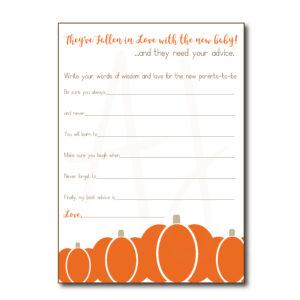 Pumpkin Themed Baby Advice Cards