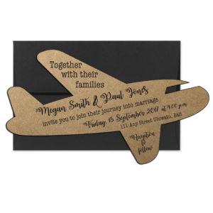Rustic Airplane Wedding Invite