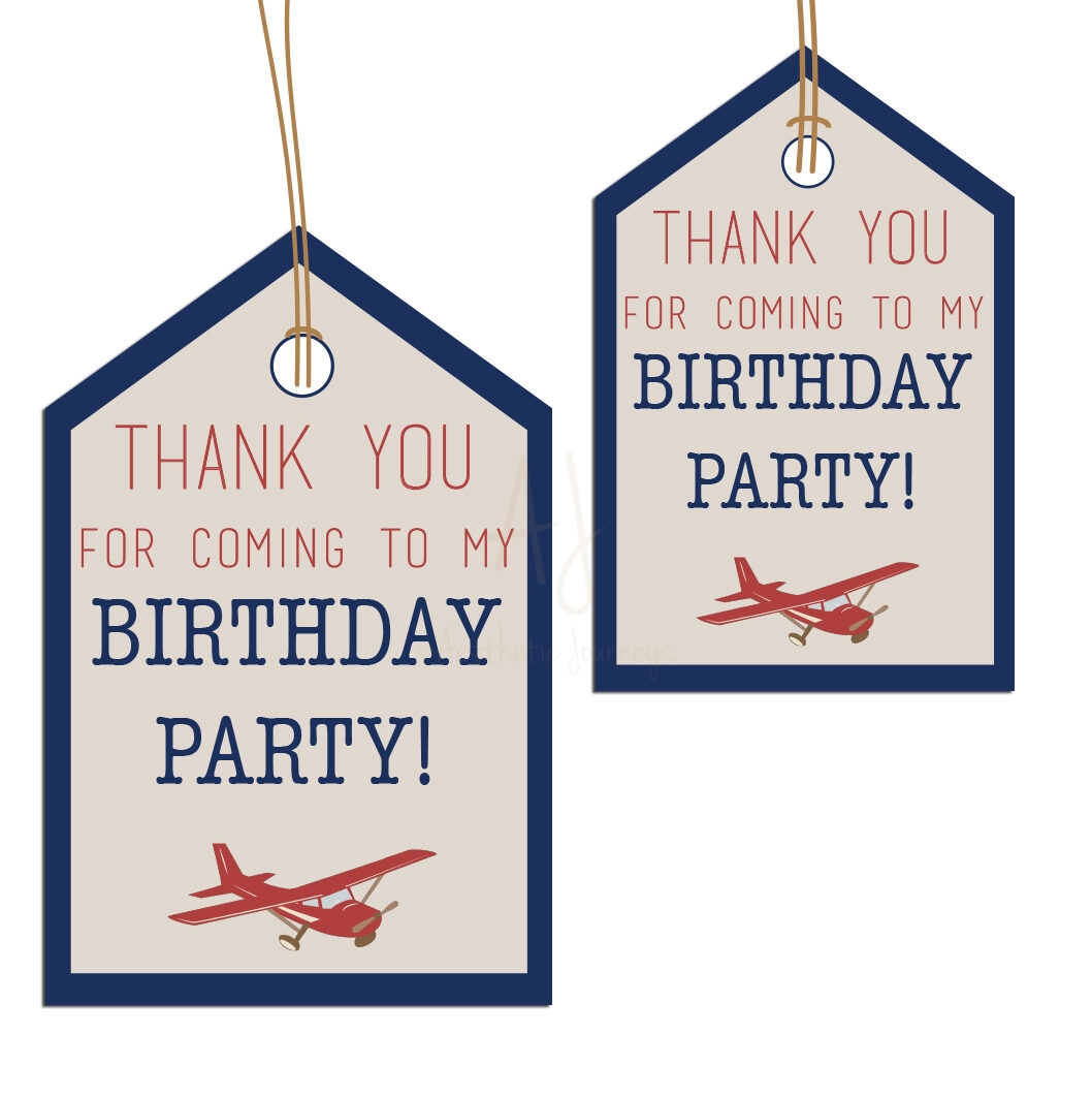 airplane themed favor tags