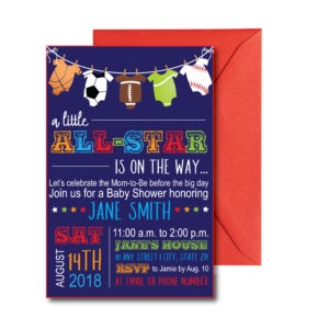 All Star Sport Baby Shower Invite