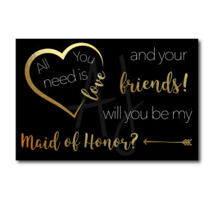 Black and Gold Maid of Honor Card