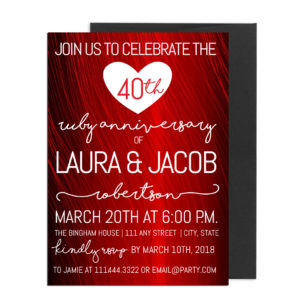 Fortieth Anniversary Party Invite