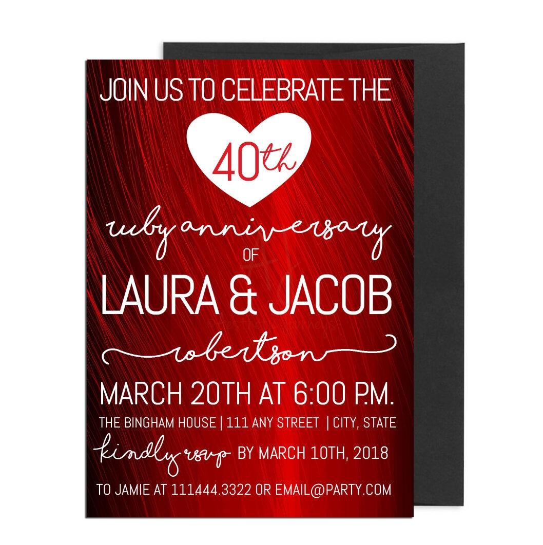 Fortieth Anniversary Party Invite