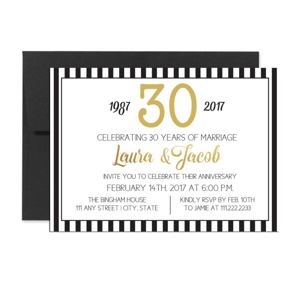 Black Striped Anniversary Invite