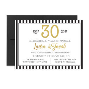 Black Striped Anniversary Invite