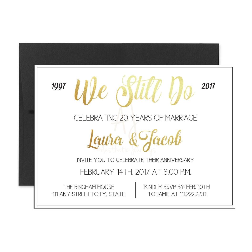 Black and Gold Anniversary Invite