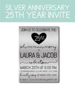 Silver Anniversary Invite for 25 Years