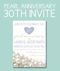 Pearl Themed Invite for 30th Anniversary