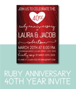 Ruby Invite for 40th Anniversary