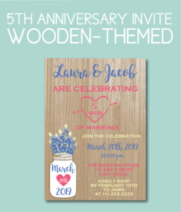Wood Themed Fifth Anniversary Invite