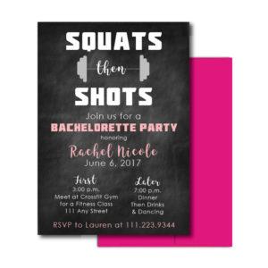 Fitness Themed Bachelorette Invite