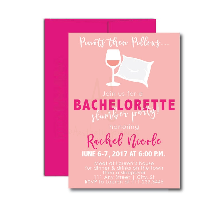 Pinot then Pillows Bachelorette Invite