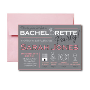 Pale Pink and Grey Bachelorette Invite