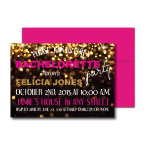 Gold Sparkle Bachelorette Invite