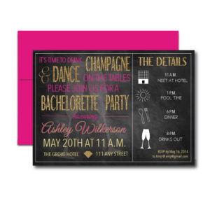 Champagne Themed Bachelorette Invite