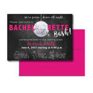 Disco Themed Bachelorette Invite