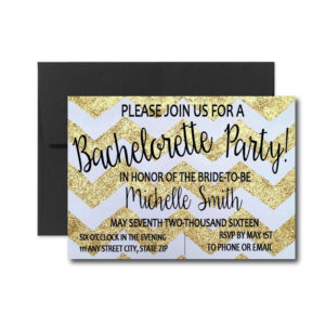Gold Chevron Bachelorette Invite