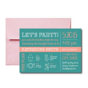 Teal and Peach Bachelorette Invite