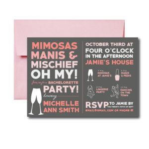 Mimosas and Manis Bachelorette Invite