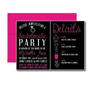Pink and Black Bachelorette Invite