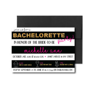 Black Striped Bachelorette Invite