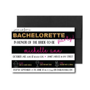 Black Striped Bachelorette Invite