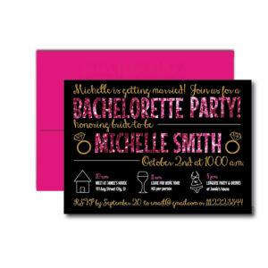 Pink Glitter Bachelorette Invite