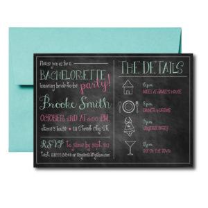 Simple Chalkboard Bachelorette Invite